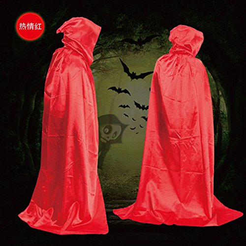 olayer Erwachsene Fancy Dress Halloween Kostüm Kapuzen Umhang Hochzeit Cape Wicca Bademantel 1,8m rot