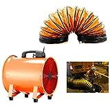 TFCFL 12 '' / 300mm Ventilador Portátil Industrial Air Axial Metal Extractor Comercial Extractor de Taller Ventilador 2800r / min con Conducto de PVC de 5M
