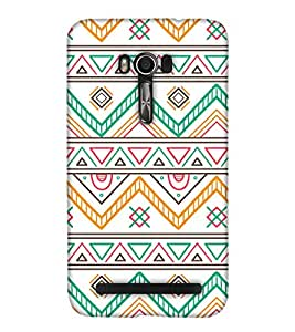 PrintHaat Designer Back Case Cover for Asus Zenfone Go ZC500TG (5 Inches) (designer pattern :: decorative design :: zig zag design :: multicolor design :: latest trendy design :: excellent drawing design :: good looking art design :: in black, green, red, blue and yellow)