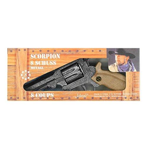 J.G.Schrödel Scorpion antik: Spielzeugpistole für Zündplättchen-Munition, in Box, passend für Cowboys und Sheriffs, 8 Schuss, 22 cm, grau / silber (106 8278) (Scorpion Kinder Für Kostüm)