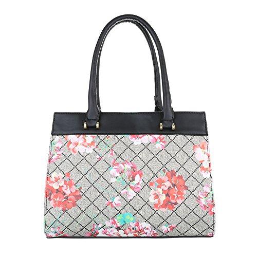 Damen Schultertasche Handtasche Tragetasche Shopper Schwarz Blau Grau Rot Weiß Modell Nr1 Grau