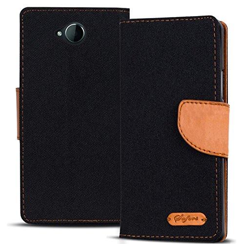 Conie Hülle für Microsoft Lumia 650 Tasche Textil Bookstyle Schwarz, PU Leder Hülle Stoff Style Schwarz, Handyhülle Lumia 650 Flip Case Wallet, Booklet Cover Etui, für Microsoft Lumia 650 (5.0