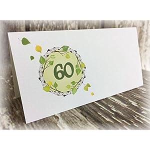 Tischkarte Namenskarte Blätter runder Geburtstag 40 50 60 70 80 90 Tischdeko personalisierbar grün ...