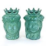 Coppia Teste di Moro Verdi, Ceramica di Caltagirone Fatta a Mano