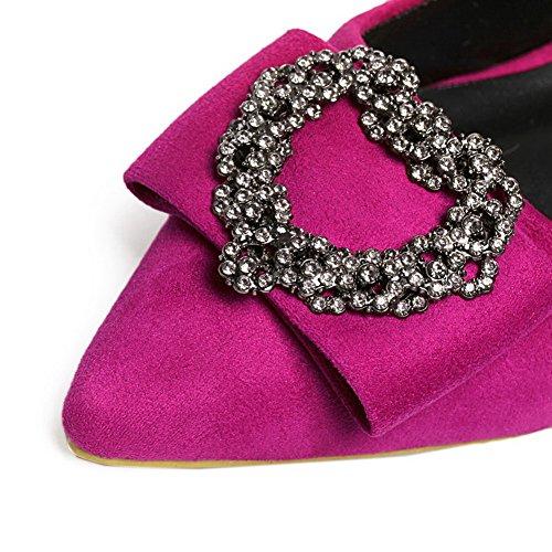 AalarDom Damen Spitz Zehe Ziehen Auf Blend-Materialien Pumps Schuhe Rosa-Diamanten
