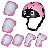 Kiwivalley 7 Pieces Kids Outdoor Sports Protective Gear Set,Kids Safety Fun Beatles Print Helmet,Knee & Elbow Pads,Wrist Guards for Tricycle Roller Skating Skating Cycling(4-8years Old) (Pink)