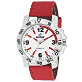 GIONEE MRT-021 Analog Dual Tone (White & Maroon) Casual Wrist Watch for Men with Durable Leather Stripe.