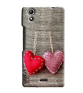 Omnam Two Hearts Hanging On Wood Printed Designer Back Cover Case For Micromax Selfie 2 Q340