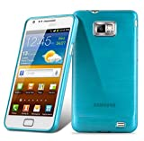 Cadorabo Hülle für Samsung Galaxy S2 / S2 Plus - Hülle in TÜRKIS – Handyhülle aus TPU Silikon in gebürsteter Edelstahloptik (