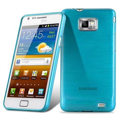 Cadorabo Hülle für Samsung Galaxy S2 / S2 Plus - Hülle in TÜRKIS – Handyhülle aus TPU Silikon in gebürsteter Edelstahloptik (Brushed) Silikonhülle Schutzhülle Soft Back Cover Case Bumper