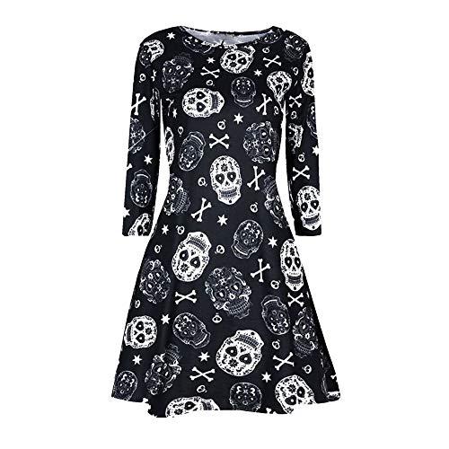 Mayogo - abito da donna di halloween vestito da donna alla moda taro stampato - abito da sera vintage da donna a manica lunga con scollo tondo abito da sera multicolore abito da sera nero