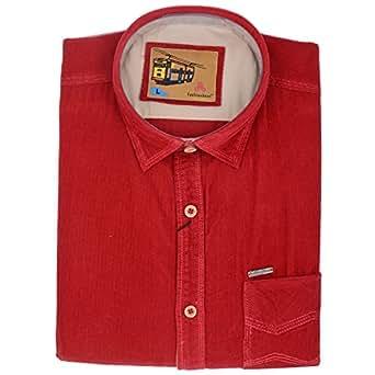 Fashionbean Men's Red Party Wear Shirt