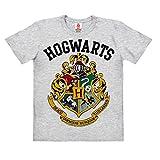 Logoshirt Harry Potter - Wappen - Hogwarts Logo - Kinder Organic T-Shirt - Grau-Meliert - Bio Baumwolle - Lizenziertes Originaldesign, Größe 116, 5-6 Jahre