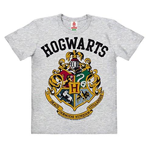 (Logoshirt Harry Potter - Wappen - Hogwarts Logo - Kinder Organic T-Shirt - Grau-Meliert - Bio Baumwolle - Lizenziertes Originaldesign, Größe 128, 7-8 Jahre)