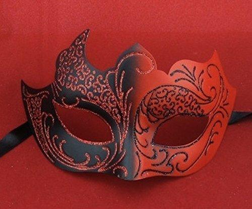 n TM 619219290418rot und schwarz venezianischen Masquerade Halloween Teufel Fancy Maskenball Party Kleid Ball Kostüm Zubehör, Unisex, ONE SIZE (Teufel Kostüm Kleid Schwarz)