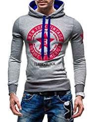 BOLF Kapuzenpullover Sweatshirt Motiv Print Herren Pullover mit Kapuze STEGOL 1056
