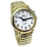 Englisch sprechende Armbanduhr für Blinde Menschen oder die ältere und Sehbehinderte Menschen mit Alarm von Quarz, Talking Datum und Uhrzeit, Golden Farbe, weiß Face