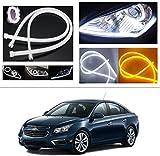 #7: AutoStark Angel Eye 2x Daytime Running Light Tube Guide Soft and Flexible Car LED Strip DRL White and Yellow turn signal light For Chevrolet Cruze