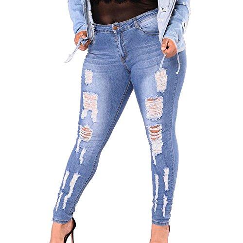 Vin beauty Talla grande Agujero de moda Jeans elásticos delgados