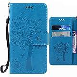 Handyhülle Microsoft Lumia 640 LTE Hülle Tasche, Ougger Glückliches Blatt BriefHülle Tasche Schale Schutzhülle Leder Weich Magnetisch Stehen Silikon Cover mit Kartenslot (Blau)