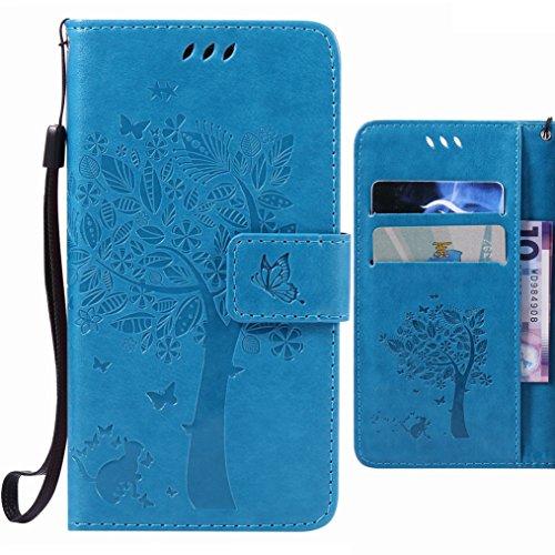 Handyhülle für Microsoft Lumia 640 LTE Hülle Tasche, Ougger Glückliches Blatt BriefHülle Tasche Schale Schutzhülle Leder Weich Magnetisch Stehen Silikon Cover mit Kartenslot (Blau)
