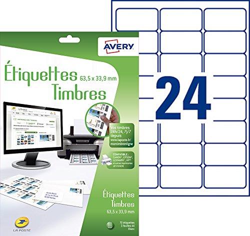 Avery 72 Etiquettes Autocollantes pour Timbres (24 par Feuille) - 63,5x33,9 mm - Impression Jet d'Encre - Blanc (J8159)