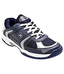 Zigaro Mens Navy White Synthetic Badminton Shoes - 6 UK