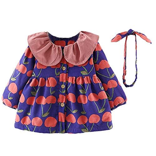 JUSTSELL Langarmshirts Mäntel für Baby Herbst Winter, Mädchen Jungs Kleiner Tree -Drucken Kleid Coat Drucken Rüschen Mäntel Button-down Mantel (Outwear+ Stirnband-Sets)