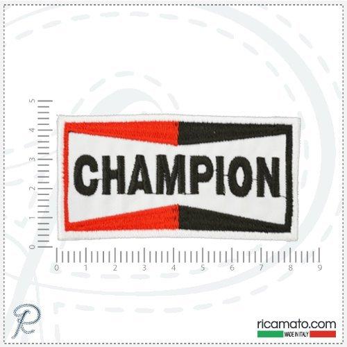 TOPPA PATCH RICAMATA LOGO CHAMPION MOTORI MOTO MOTORS SPONSOR ADESIVA TERMOADESIVA CM10,5x5,5
