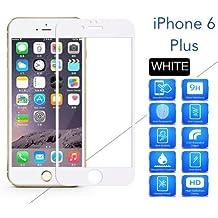 Protector de Pantalla Completa para iphone 6 plus 6S plus de Dureza de 9H sin Burbujas ( Blanco ) .Full Cover IPHONE 6 plus 6S plus Cristal Vidrio Templado Premium de Cobertura Completa con Bordes Redondeados.