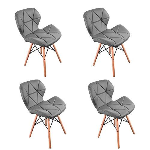 Panana 4er Set Wohnzimmerstuhl modern Eiffel Design Gepolsterter Stuhl Esszimmer Bürostuhl Holz - Grau