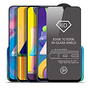 SupCares Edge to Edge Tempered Glass for Samsung Galaxy M31 / Samsung Galaxy M21 / M30S / M30 / A50S / A50 / A30 with Easy Installation Kit, Black (Pack of 1)