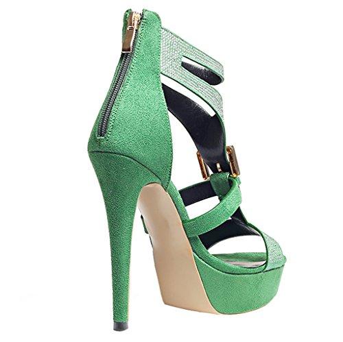 ENMAYER Frauen Suede Sexy Superabsatz Stiletto Peep Toe Pumps mit Reißverschluss Dunk High Dating Kleid Rom Schuhe Rosa#12