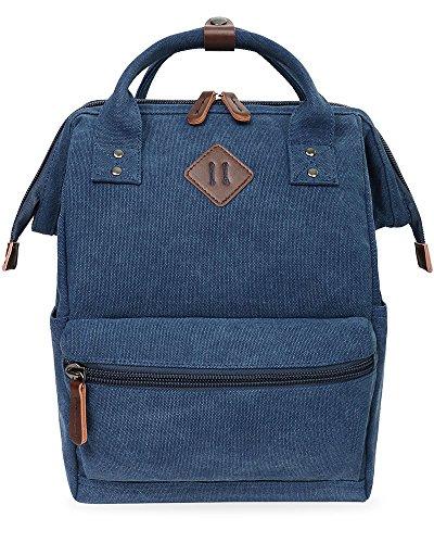 Oflamn Rucksack Damen Herren, Vintage Daypack Laptopfach für Uni, Arbeit, Reise (Marineblau)