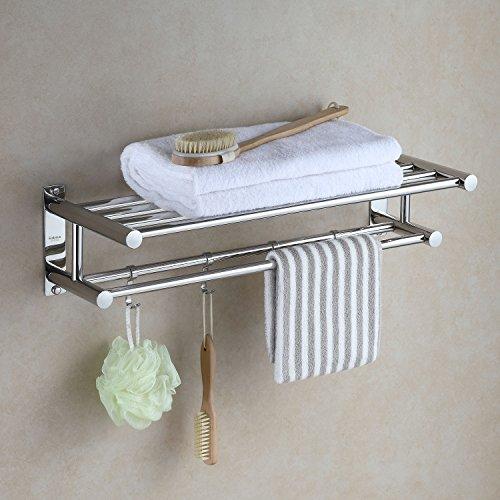 Eridanus, Bad Handtuchhalter, Edelstahl Handtuchablage, 60 cm Badetuchstange mit Haken, Chrom