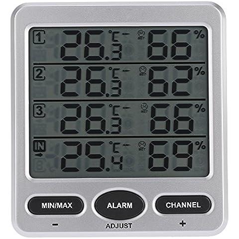 vyage (TM) LCD digitale a 8canali Wireless 433MHz telecomando e igrometro per interni/esterni con tre sensori Termometro Igrometro