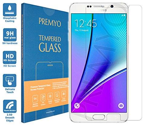 PREMYO Pellicola Vetro Temperato Compatibile con Samsung Galaxy Note 5 Protezione Schermo Durezza 9H Bordi 2,5D Anti-Graffi Bolle Impronte