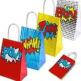 Accessoires de fête de super-héros Favors, Sacs de fête de super-héros Pour le thème de super-héros, décorations de fêtes d'anniversaire, ensemble de 16 (4 couleurs)