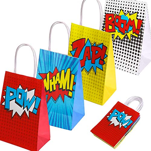Superheld Party Supplies Favors, Superheld Party Taschen für Superhero Theme Geburtstag Partydekorationen Set von 16 (4 Farben) (Party Supplies Geburtstag Superheld)