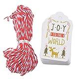 Doitsa 50 Stück Geschenkanhänger Kraftpapier tags für Geschenke, zum Weihnachten Party Etikett Schilder Anhänger DIY Deko 4X7cm Stil D