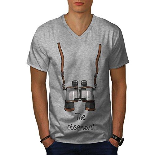 wellcoda Das Aufmerksam Männer XL V-Ausschnitt T-Shirt