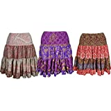 Boho Chic Designs Womens multicolored Silk Skirt Tiered Knee Length Gypsy Skirts Lot Of 3pcs
