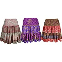 Mogul Interior Ladies Knee Silk Skirt Tiered Knee Length Gypsy Blue, Purple, Ocean Blue Skirts Lot Of 3pcs