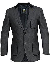 Mens Blazer Marc Darcy Coat Formal Suit Jacket Herringbone PW9 SAM Patch Casual