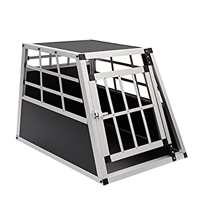 Dog Cage, Aluminum Car Dog Cage Travel Car Crate Puppy Transport Pet Carrier WarmieHomy(104 x 91x 70cm) by The Fellie