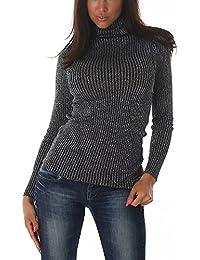 Voyelles Damen Feinstrick-Pullover Pulli Langarmshirt Sweatshirt mit Lamé  Glitzerfäden Glanzfaden Rollkragen Sweater dünn (34… 319d50bb4d