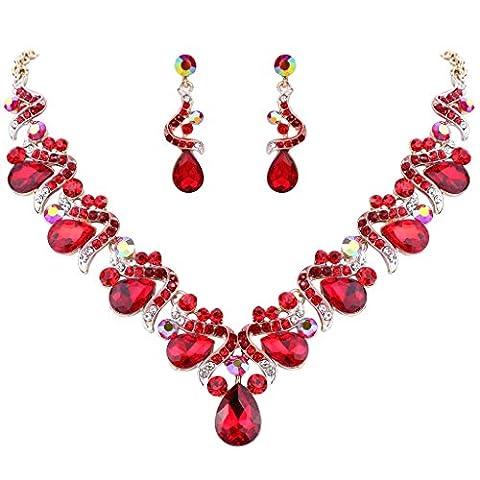 FANZE Damen Österreichen Kristall Böhmisch Schleife Tropfen Braut Ohrringe Halskette Schmuck Set Gold-Ton Rot