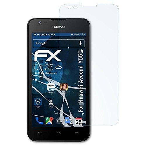 atFolix Schutzfolie kompatibel mit Huawei Ascend Y550 Panzerfolie, ultraklare & stoßdämpfende FX Folie (3X)