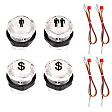 Hikig 4 Pcs 5V LED Illuminated Arcade Games Start and Player Button 1 Player / 2 Player / 2x Dollar Labeled Push Button Kit For MAME / JAMMA / Arcade Game Console / Arcade Game Machine DIY
