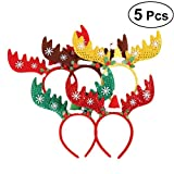 Frcolor 5PCS Christmas Headbands cervo renna di fasce per capelli travestimento party Headwear Hair Hoop